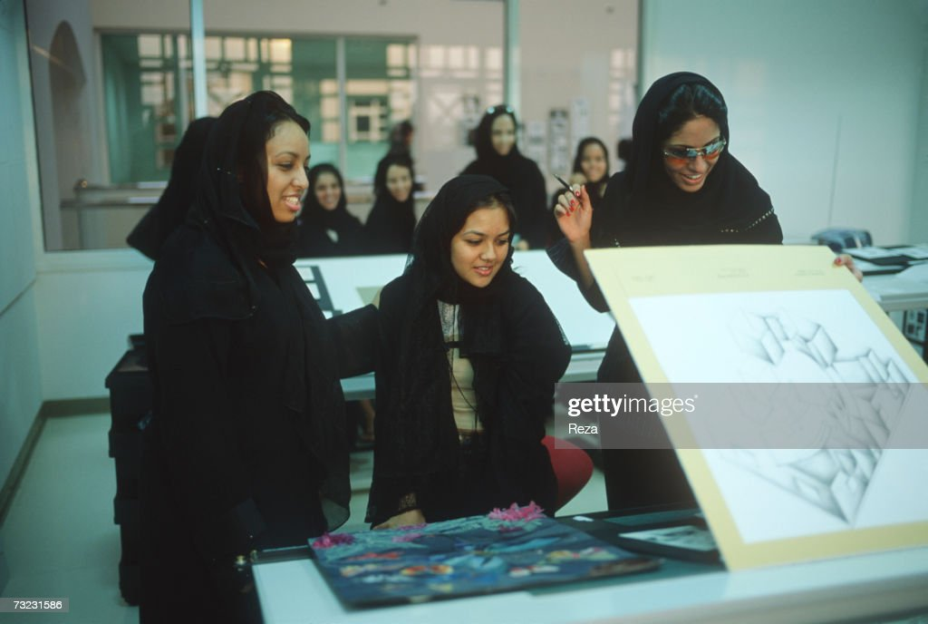 Female Students Paticipate In A Graphic Design Class At The Dar Al Hekma College For