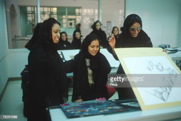 Female students paticipate in a Graphic Design class at the Dar AlHekma College for Women where three majors Business Information Systems Special...
