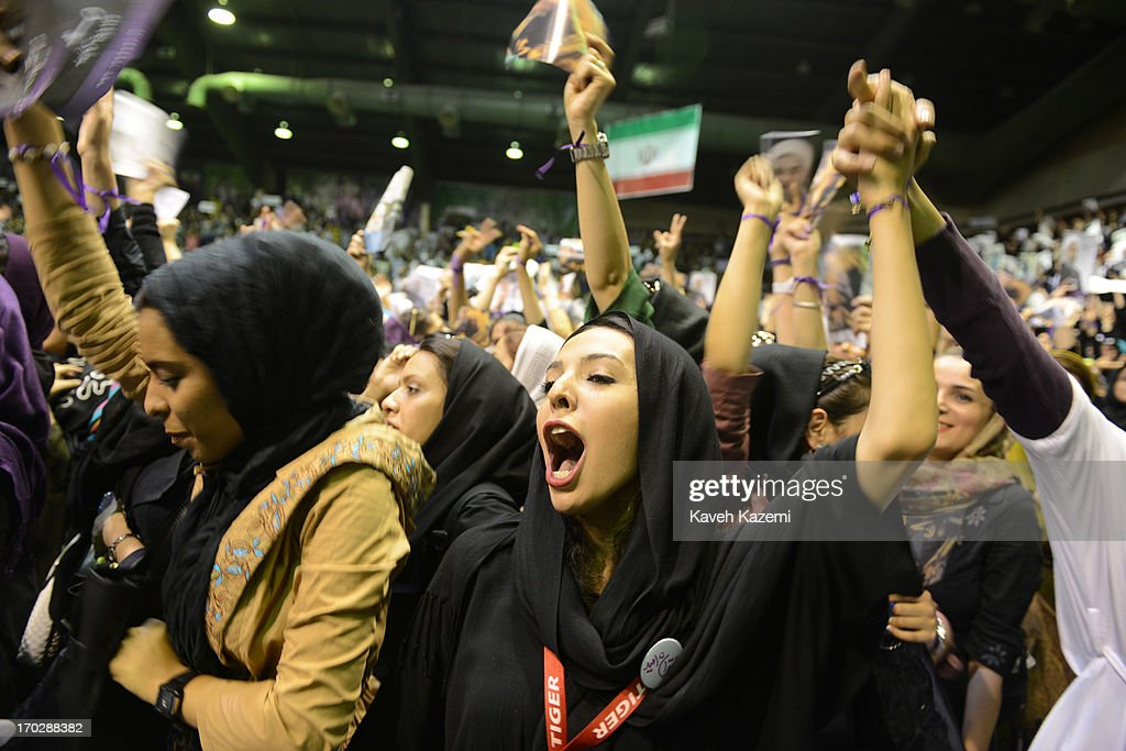 Female supporters of Hassan Rowhani, one of the eight candidates approved to run for the Iranian presidency seen during a campaign rally in Shiroudi stadium on June 8, 2013 in Tehran, Iran. Iran is to go to the polls for the Iranian general election on June 14, 2013.