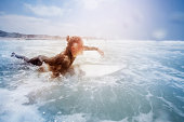 Female surfer in the ocean