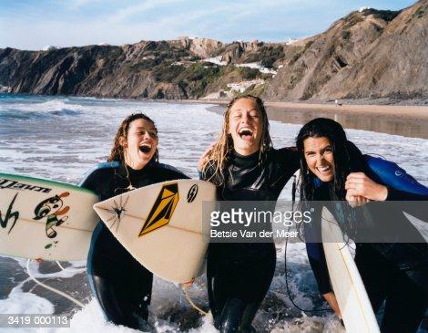 Female Surfers : Stock Photo