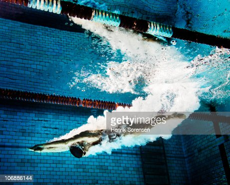 Female swimmer diving into pool : Stock Photo