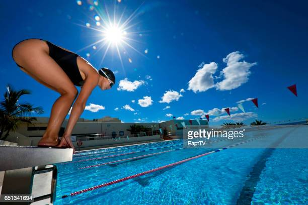A female Swimmer gets ready to dive into a Swimming pool.