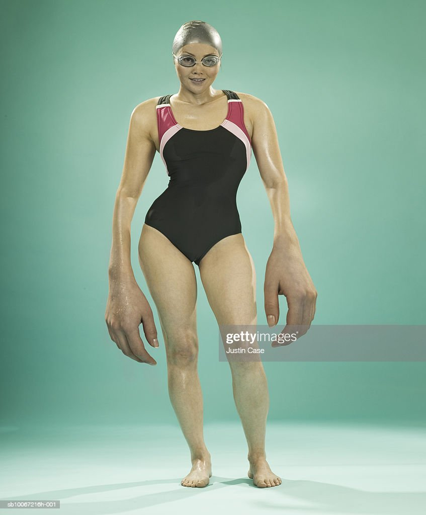 Female swimmer with large hands (Digital Composite)