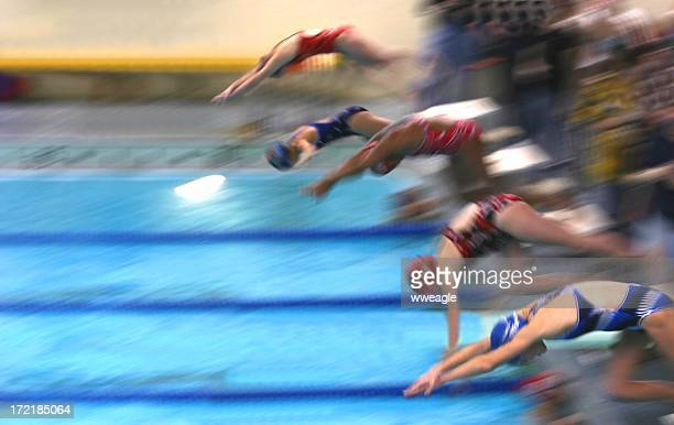 Female swimming competitors dive into the pool