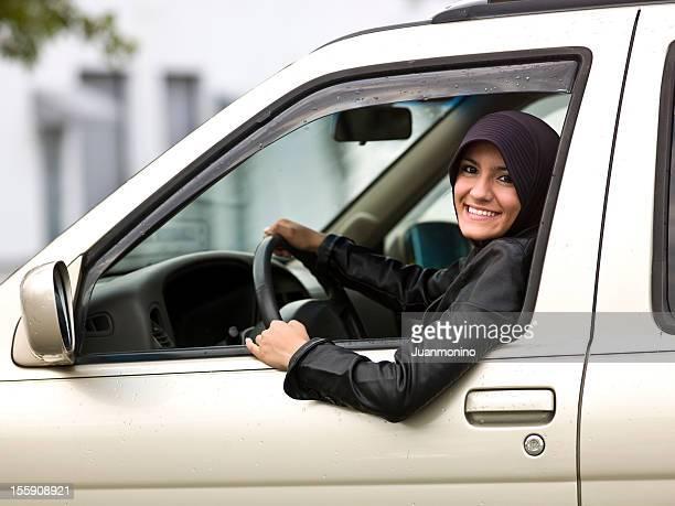 Female teenage muslim driver
