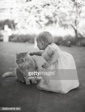Female toddler (12-15 months) petting long-haired cat (B&W) : Stock Photo