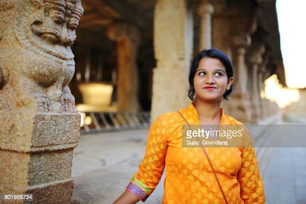 Female Tourist at Ancient Temple
