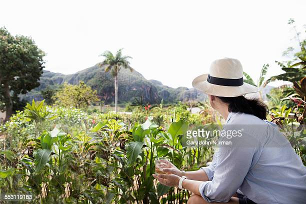 Female tourist looking over valley at Viñales