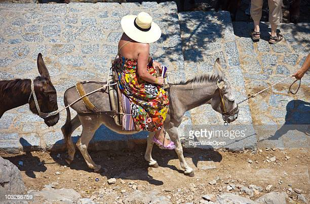 Female tourist riding a donkey up to the Acropolis of Lindos on July 04 2010 in Lindos Greece The old town of Lindos is famous for its class listed...