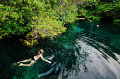 Female tourist swimming in jungle pool, Tulum, Riviera Maya, Mexico