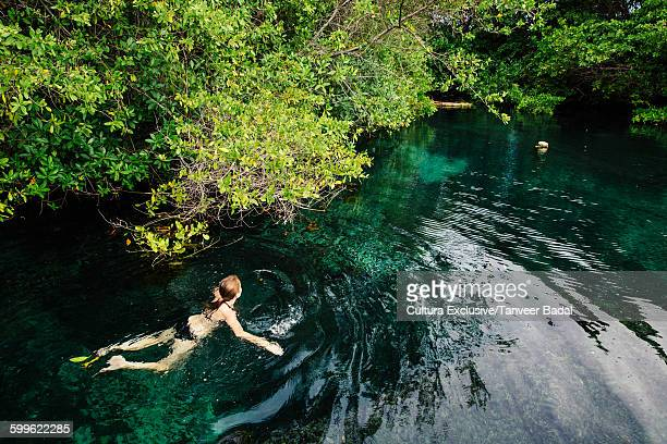 Female tourist swimming in jungle pool, Tulum, Riviera Maya, Mexico