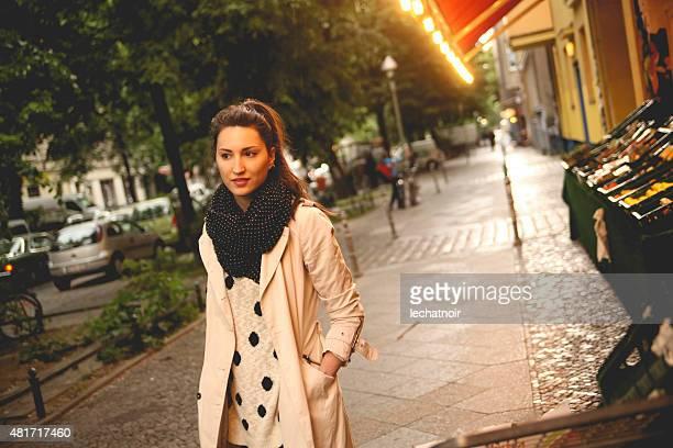 Female tourist walking on the street