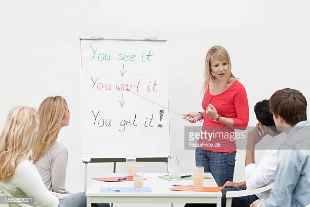 Female trainee at flipchart talking with motivation to students