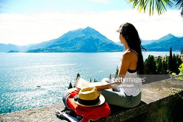 Female traveler enjoying beautiful view.