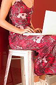 Female typing on laptop