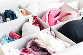Drawer containing a variety of woman underwear