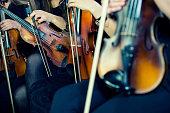 Female Violinists Preparing for Classical Concert