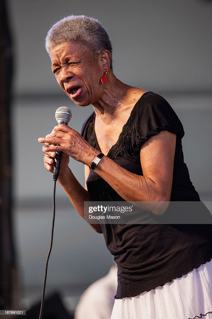Female vocalist Germaine Bazzle performs during the 2013 New Orleans Jazz & Heritage Music Festival at Fair Grounds Race Course on April 27, 2013 in New Orleans, Louisiana.