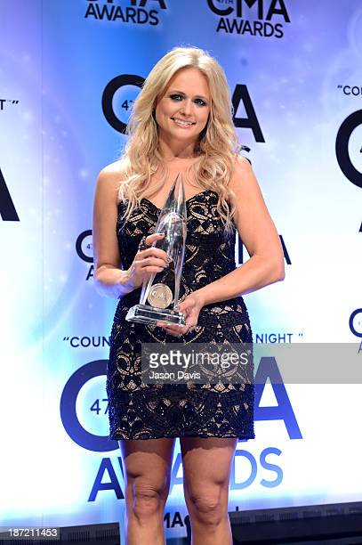 Female Vocalist of the Year award winner Miranda Lambert poses in the press room during the 47th annual CMA Awards at the Bridgestone Arena on...
