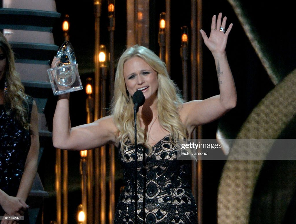 Female Vocalist of the Year <a gi-track='captionPersonalityLinkClicked' href=/galleries/search?phrase=Miranda+Lambert&family=editorial&specificpeople=571972 ng-click='$event.stopPropagation()'>Miranda Lambert</a> speaks onstage during the 47th annual CMA awards at the Bridgestone Arena on November 6, 2013 in Nashville, United States.