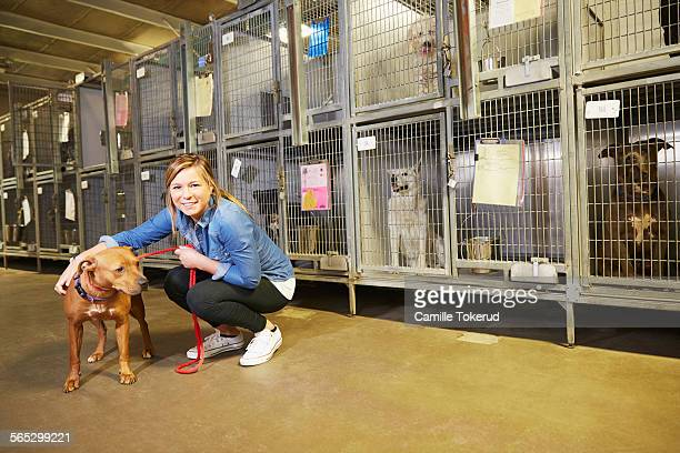 Female volunteer at an animal shelter