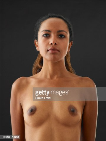 Female waist up nude portrait : Stock Photo