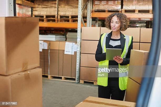 female warehouse manager