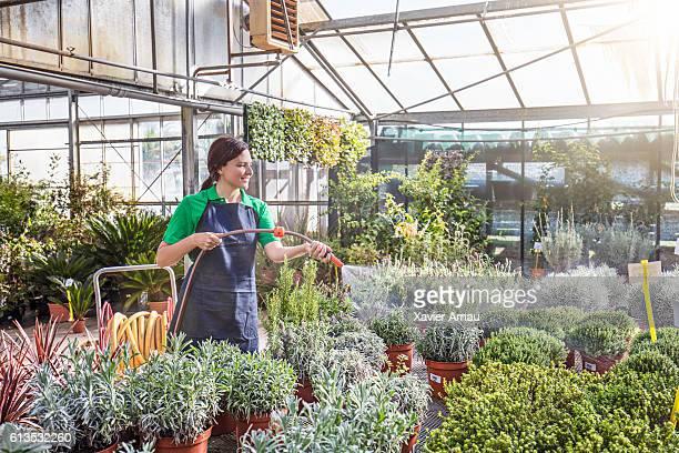 Female watering plants at garden center