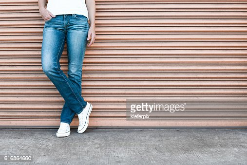 Female wearing jeans : Stock Photo