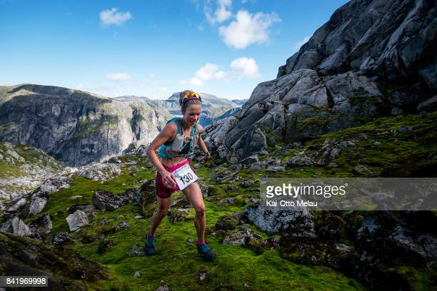 Female winner Ane Guro Moen at Hardangervidda Marathon on September 2 2017 in Eidfjord Norway Hardangervidda Marathon goes through parts of the...