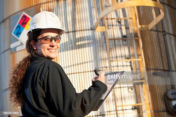 Female worker at chemical plant
