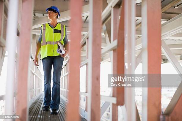 Female worker on construction site