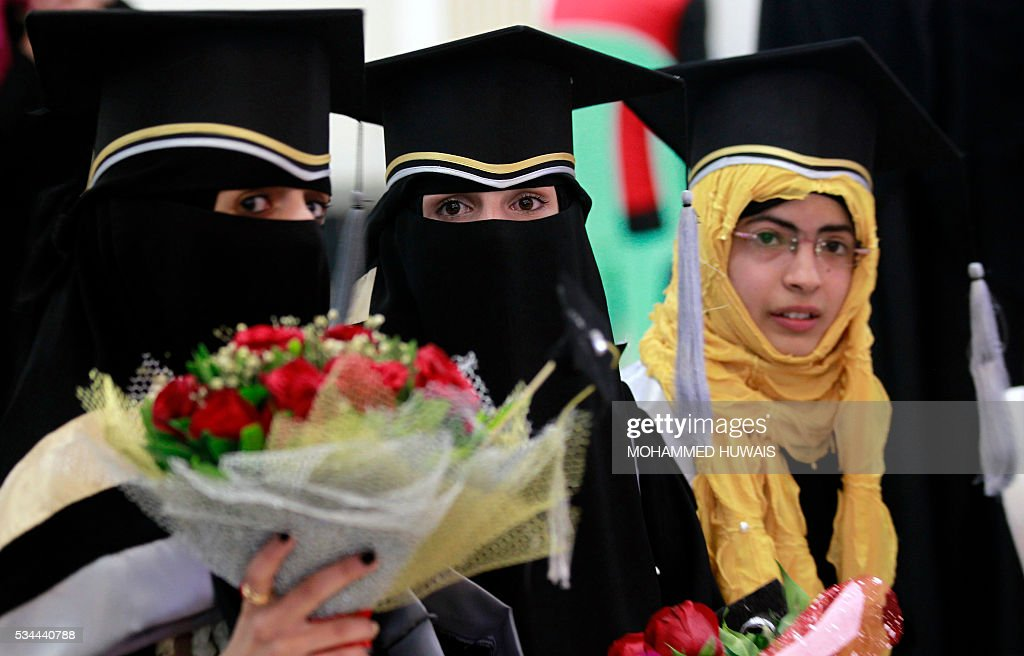 Female Yemeni University graduates attend their graduation ceremony in the Yemeni capital, Sanaa, on May 26, 2016. / AFP / MOHAMMED