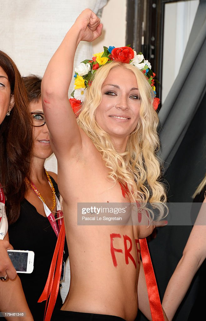 Femen activist Inna Shevchenko attends 'Ukraine Is Not A Brothel' Photocall during the 70th Venice International Film Festival at Palazzo del Casino...