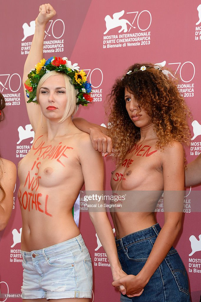 Femen activists attend 'Ukraine Is Not A Brothel' Photocall during the 70th Venice International Film Festival at Palazzo del Casino on September 4...