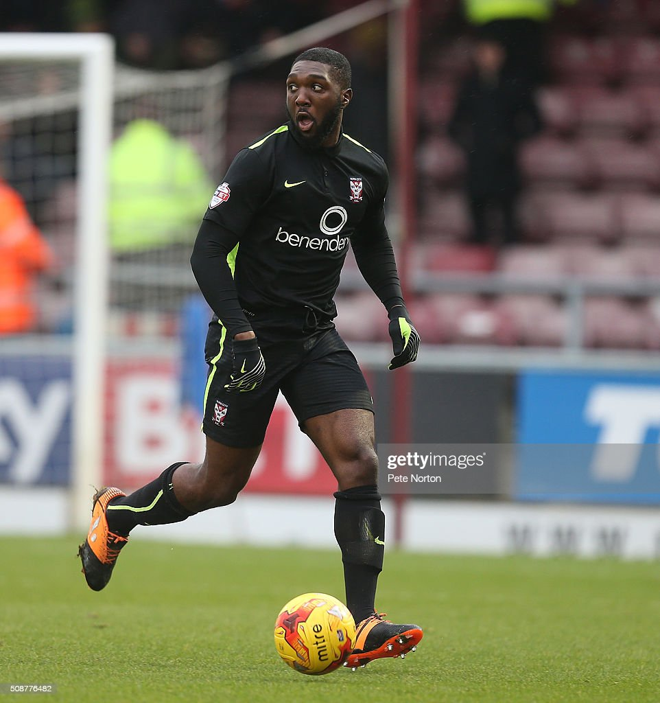 Femi Ilesanmi of York City in action during the Sky Bet League Two match between Northampton Town and York City at Sixfields Stadium on February 6, 2016 in Northampton, England.