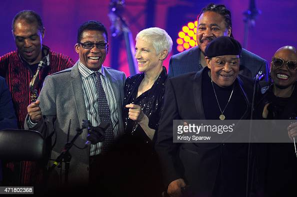 Femi Kuti UNESCO Goodwill Ambassador Herbie Hancock Annie Lennox James Genus Al Jarreau and Dee Dee Bridgewater pose on stage during the finale of...