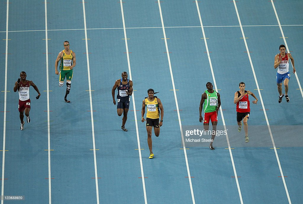 Femi Ogunode of Qatar, <a gi-track='captionPersonalityLinkClicked' href=/galleries/search?phrase=Oscar+Pistorius&family=editorial&specificpeople=224406 ng-click='$event.stopPropagation()'>Oscar Pistorius</a> of South Africa, Greg Nixon of United States, <a gi-track='captionPersonalityLinkClicked' href=/galleries/search?phrase=Jermaine+Gonzales&family=editorial&specificpeople=729708 ng-click='$event.stopPropagation()'>Jermaine Gonzales</a> of Jamaica, <a gi-track='captionPersonalityLinkClicked' href=/galleries/search?phrase=Rondell+Bartholomew&family=editorial&specificpeople=6147565 ng-click='$event.stopPropagation()'>Rondell Bartholomew</a> of Grenada, <a gi-track='captionPersonalityLinkClicked' href=/galleries/search?phrase=Jonathan+Borlee&family=editorial&specificpeople=2236169 ng-click='$event.stopPropagation()'>Jonathan Borlee</a> of Belgium and <a gi-track='captionPersonalityLinkClicked' href=/galleries/search?phrase=Pavel+Trenikhin&family=editorial&specificpeople=7124685 ng-click='$event.stopPropagation()'>Pavel Trenikhin</a> of Russia compete in the men's 400 metres semi finals during day three of the 13th IAAF World Athletics Championships at the Daegu Stadium on August 29, 2011 in Daegu, South Korea.