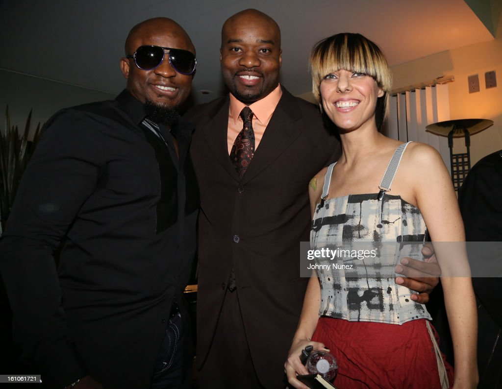 Femi Ojetunde, Gary 'Silky' Davis and Nadia Ackerman attend the Femdouble Producers Choice Honorees Gala at Bel Air Ship Mansion on February 8, 2013 in Belair, California.