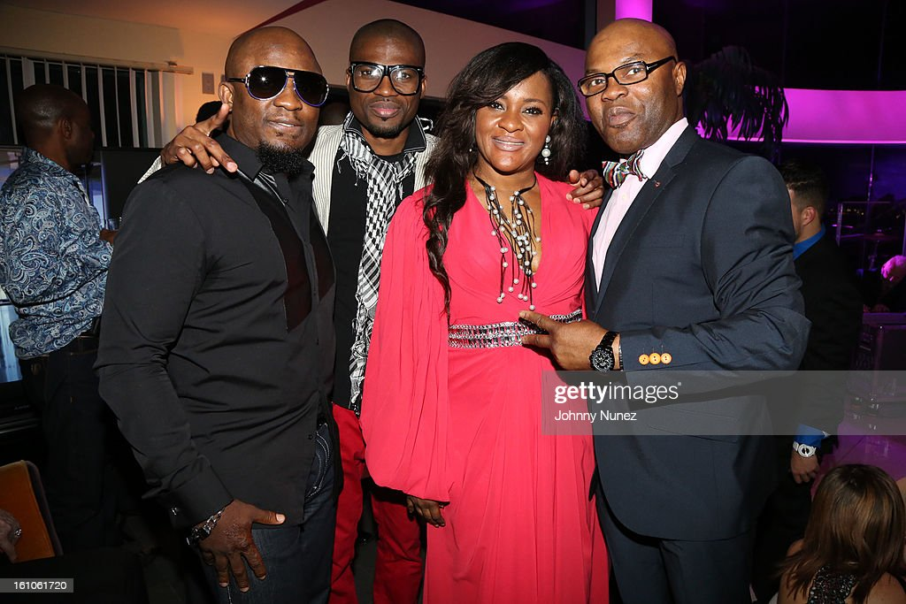 Femi Ojetunde, Solomon Afolabi, Sylvia Babalola and Taiwo Lawrence attend the Femdouble Producers Choice Honorees Gala at Bel Air Ship Mansion on February 8, 2013 in Belair, California.