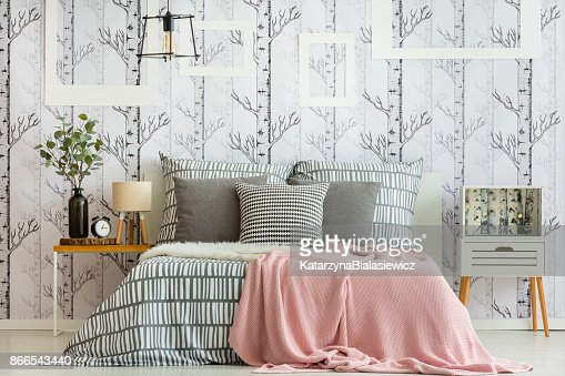 Feminine forest inspired bedroom : Stock Photo