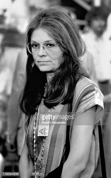 Feminist leader Gloria Steinem awaits the launching of the Space Shuttle Challenger carrying the first woman astronaut Sally Ride into space Steinem...