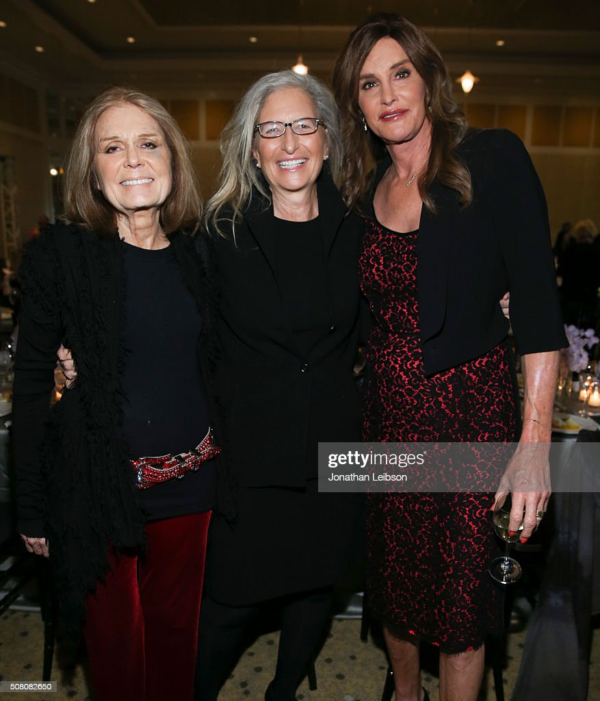 Feminist writer activist and organizer Gloria Steinem photographer Annie Leibovitz and television personality Caitlyn Jenner attend the 2016 MAKERS...