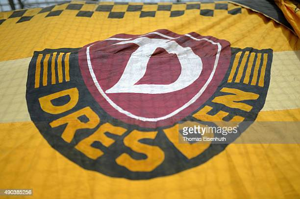 A fence banner of supporters of Dynamo Dresden during the Third League match between SG Dynamo Dresden and VfR Aalen at Stadion Dresden on September...