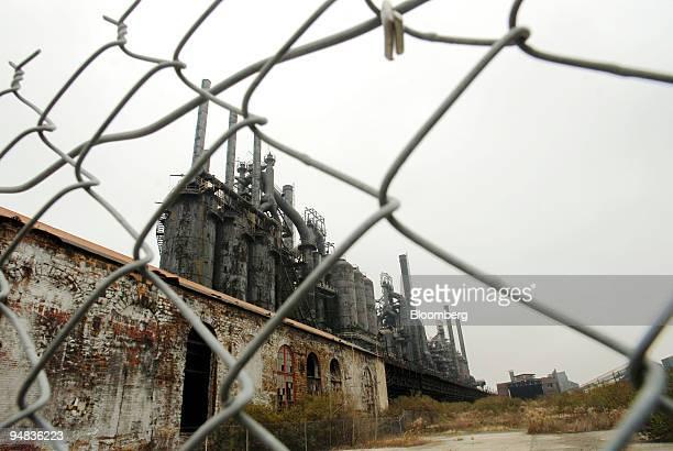 A fence encloses the shuttered Bethlehem Steel plant in Bethlehem Pennsylvania on Wednesday November 29 2006