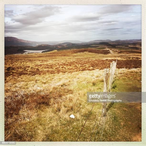 Fence in Landscape, Scotland, Highlands, UK