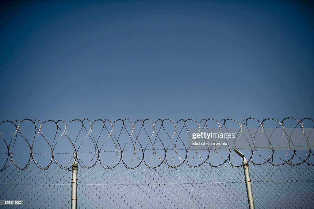A fence is seen at The California Institution for Men prison on August 19 2009 in Chino California After touring the prison where a riot took place...