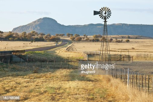 Fence-Line Leading to Ranch Corrals and Windmill