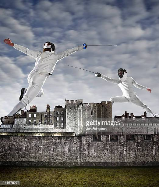 Fencers above Monument